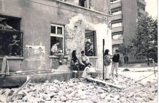 Разрушената сграда на Музиккалното училище в София. Снимка: Личен архив на приятели на Андрей Башев, качена във Фейсбук